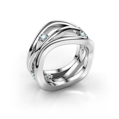 Ring Liza 585 witgoud aquamarijn 2 mm
