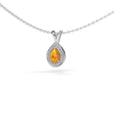 Picture of Necklace Ginger 585 white gold citrin 6x4 mm