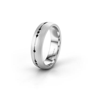 Trouwring WH0166L25A 925 zilver zwarte diamant ±5x1.7 mm