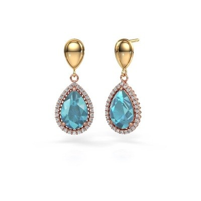 Picture of Drop earrings Cheree 1 585 rose gold blue topaz 12x8 mm