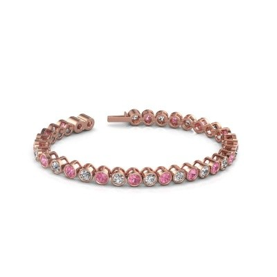 Foto van Tennisarmband Allegra 750 rosé goud roze saffier 4 mm