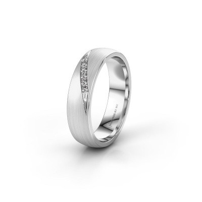 Trouwring WH2150L25AM 585 witgoud diamant ±5x1.7 mm
