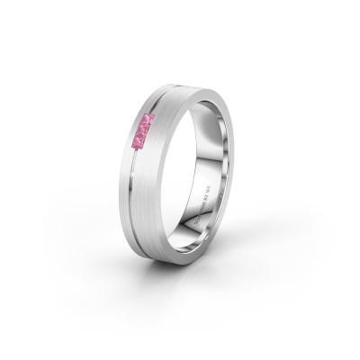Trouwring WH0158L14X 585 witgoud roze saffier ±4x1.4 mm