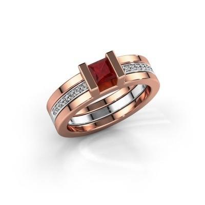 Foto van Ring Desire 585 rosé goud robijn 4 mm