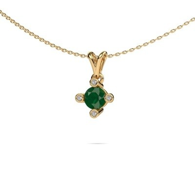 Picture of Pendant Cornelia Round 375 gold emerald 5.5 mm