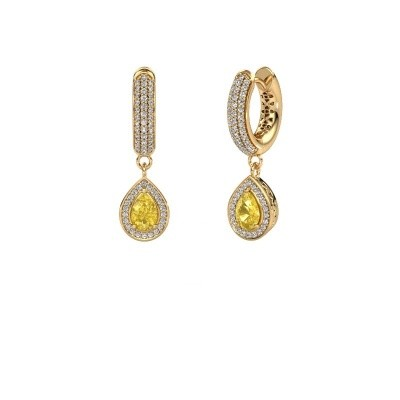 Picture of Drop earrings Barbar 2 585 gold yellow sapphire 6x4 mm