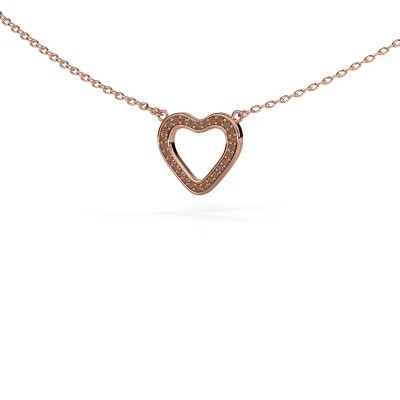 Picture of Pendant Heart 3 375 rose gold brown diamond 0.07 crt