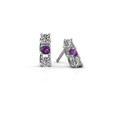 Picture of Earrings Fenna 925 silver amethyst 3 mm