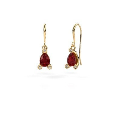 Picture of Drop earrings Bunny 1 585 gold ruby 7x5 mm