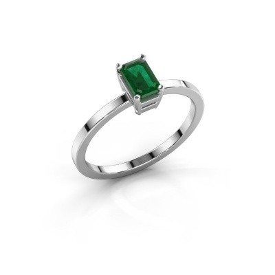Foto van Verlovingsring Denita 1 585 witgoud smaragd 6x4 mm