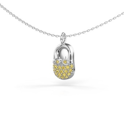 Picture of Pendant Babyshoe 375 white gold yellow sapphire 1.3 mm