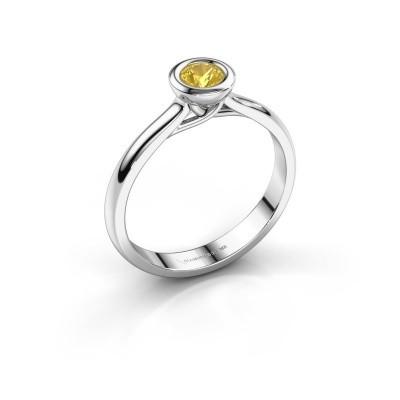 Foto van Verlovings ring Kaylee 585 witgoud gele saffier 4 mm