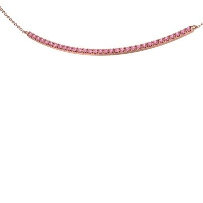 Picture of Bar necklace Simona 375 rose gold pink sapphire 1.5 mm