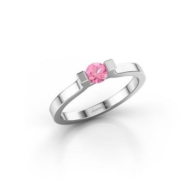 Foto van Verlovingsring Jodee 585 witgoud roze saffier 4 mm