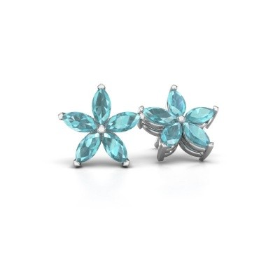 Picture of Stud earrings Sylvana 925 silver blue topaz 5x2.5 mm
