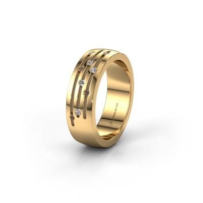 Trouwring WH0134L26B 585 goud bruine diamant ±6x2 mm