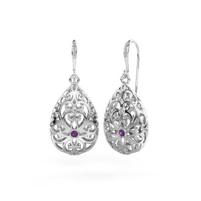 Picture of Drop earrings Idalia 2 585 white gold amethyst 2 mm