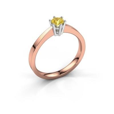 Foto van Verlovingsring Noortje 585 rosé goud gele saffier 4 mm