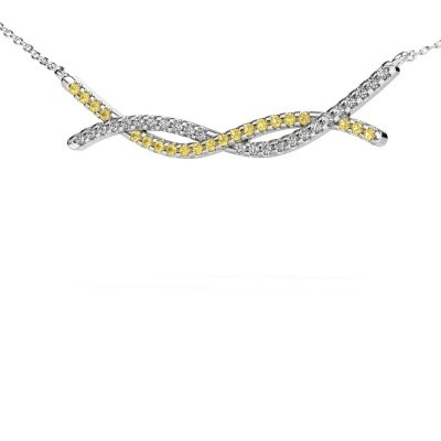 Picture of Bar necklace Breanne 585 white gold yellow sapphire 1.2 mm