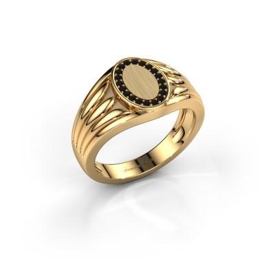 Foto van Pinkring Marinus 585 goud zwarte diamant 0.18 crt