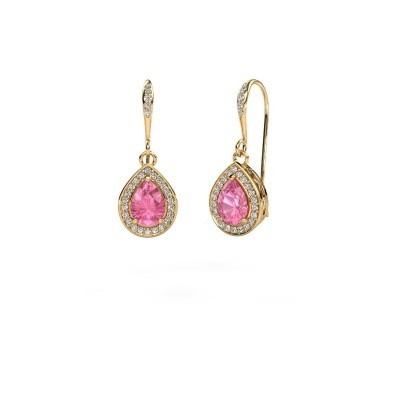 Picture of Drop earrings Beverlee 2 750 gold pink sapphire 7x5 mm