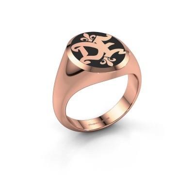 Foto van Monogram ring Xandro Emaille 585 rosé goud zwarte emaille