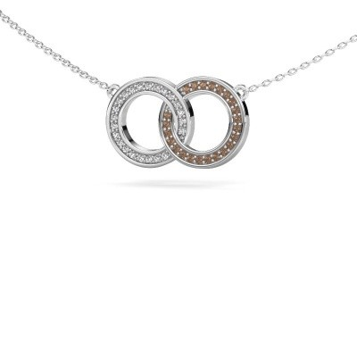 Picture of Necklace Circles 1 585 white gold brown diamond 0.23 crt