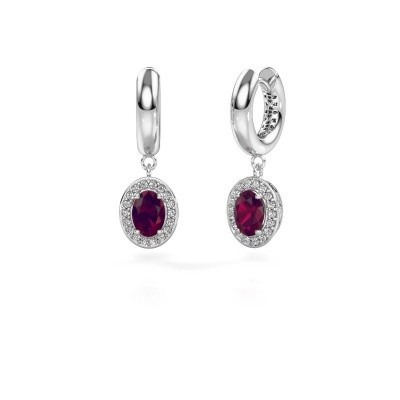 Picture of Drop earrings Annett 375 white gold rhodolite 7x5 mm