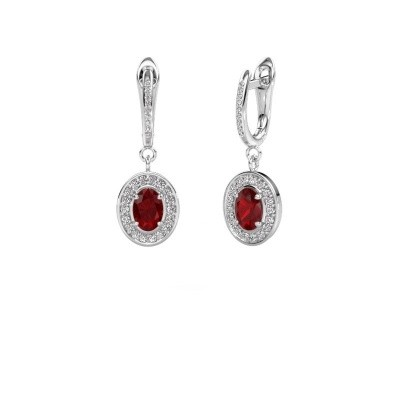 Drop earrings Layne 2 585 white gold ruby 7x5 mm