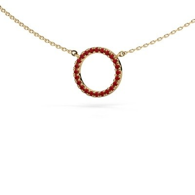 Picture of Pendant Circle 585 gold ruby 1.2 mm