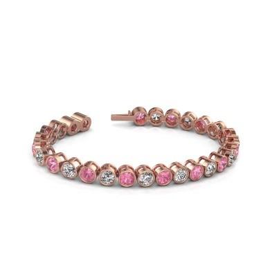 Foto van Tennisarmband Mandi 750 rosé goud roze saffier 5 mm