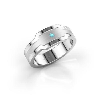 Foto van Heren ring Guido 950 platina blauw topaas 2 mm