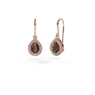 Picture of Drop earrings Beverlee 1 375 rose gold smokey quartz 7x5 mm
