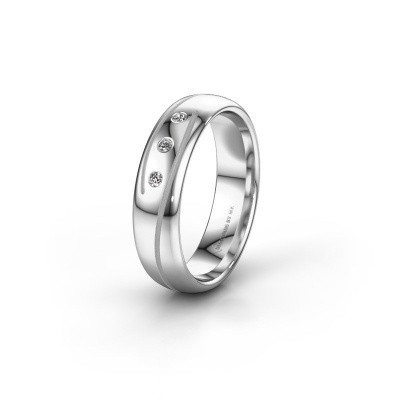 Trouwring WH0152L25A 585 witgoud diamant ±5x1.7 mm