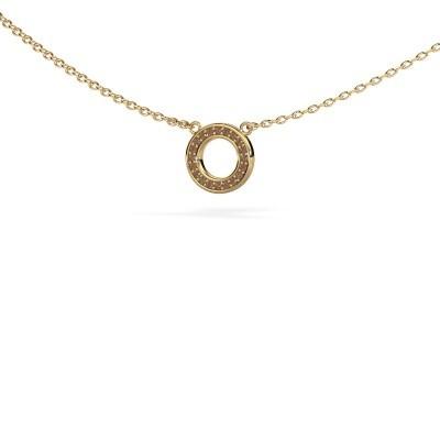 Bild von Anhänger Round 2 585 Gold Braun Diamant 0.05 crt