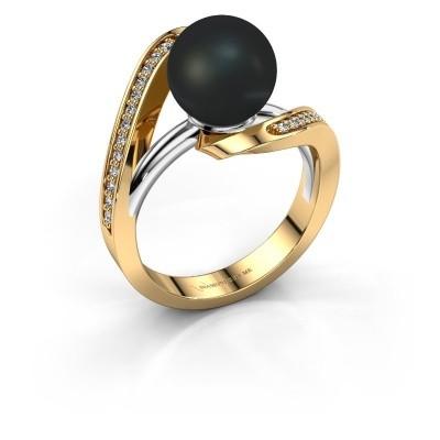 Foto van Ring Amber 585 goud zwarte parel 9 mm