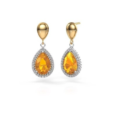 Picture of Drop earrings Cheree 1 585 white gold citrin 12x8 mm