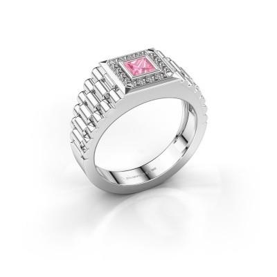 Foto van Rolex stijl ring Zilan 585 witgoud roze saffier 4 mm
