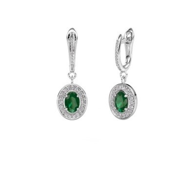 Picture of Drop earrings Layne 2 585 white gold emerald 7x5 mm
