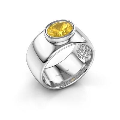 Foto van Ring Anouschka 925 zilver gele saffier 8x6 mm