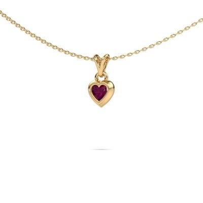 Foto van Hanger Charlotte Heart 585 goud rhodoliet 4 mm