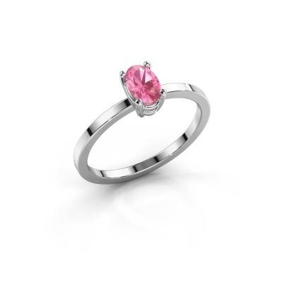Foto van Ring Lynelle 1 950 platina roze saffier 6x4 mm