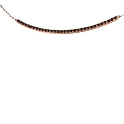 Foto van Bar ketting Simona 375 rosé goud zwarte diamant 0.576 crt