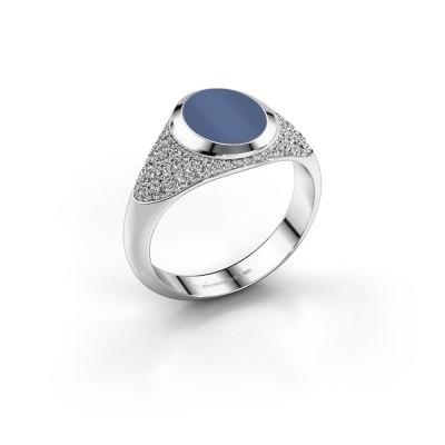 Foto van Pinkring Giovani 925 zilver blauw lagensteen 10x8 mm