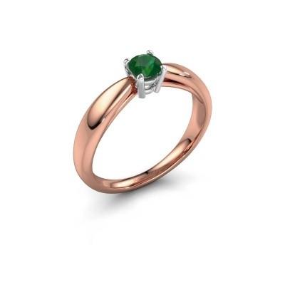 Foto van Verlovingsring Nichole 585 rosé goud smaragd 4.2 mm