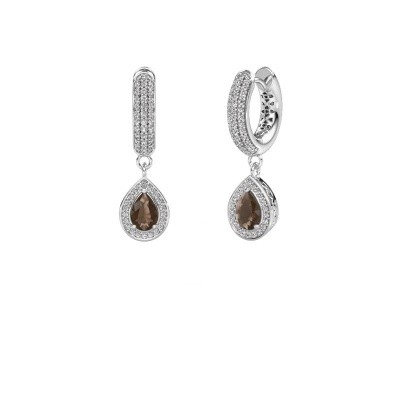 Picture of Drop earrings Barbar 2 375 white gold smokey quartz 6x4 mm