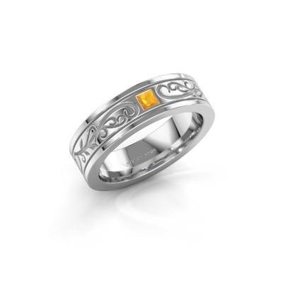 Foto van Heren ring Matijs 585 witgoud citrien 3 mm