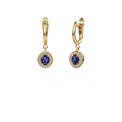 Picture of Drop earrings Nakita 750 gold sapphire 5x4 mm