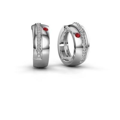 Picture of Hoop earrings Shakita 925 silver ruby 2 mm