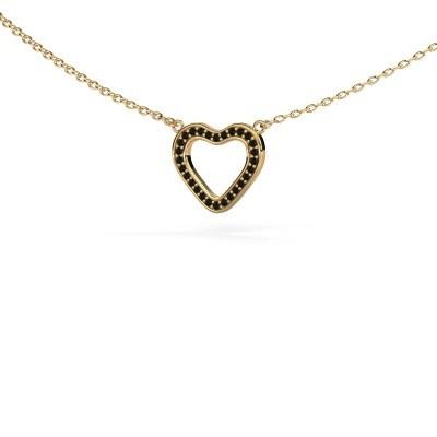 Bild von Anhänger Heart 3 585 Gold Schwarz Diamant 0.084 crt